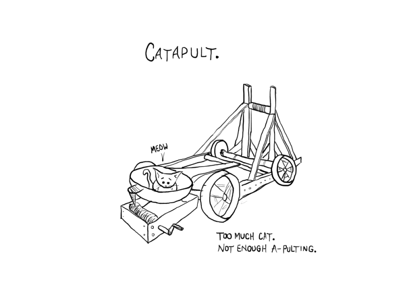 The problem with catapults, cat comics